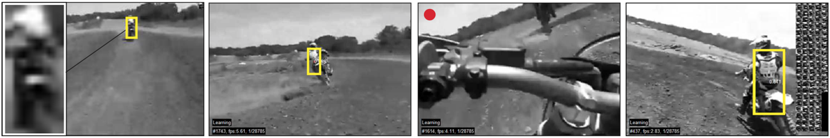 Given a single bounding box defining the object location and extent in the initial frame (LEFT), our system tracks, learns and detects the object in real-time. The red dot indicates that the object is not visible.